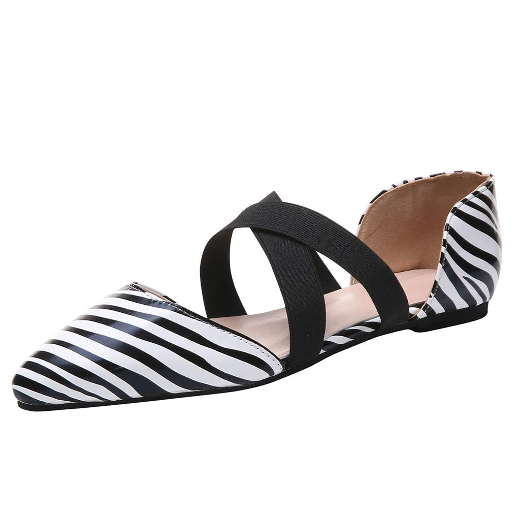 ✔ Hypothesis_X ☎ Womens D'Orsay Almond Pointed Toe Slip On Casual Flats Leopard Casual Sandals Single Shoes White by ✔ Hypothesis_X ☎ Shoes
