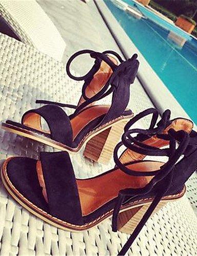 ZQ Zapatos de mujer-Tac¨®n Robusto-Tacones-Tacones-Casual-PU-Negro / Caqui , black-us8 / eu39 / uk6 / cn39 , black-us8 / eu39 / uk6 / cn39 khaki-us6.5-7 / eu37 / uk4.5-5 / cn37