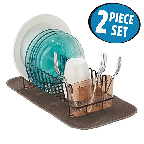 mDesign Kitchen Accessory Set, Compact Dish Drainer, Mini Dish Drying Mat - Set of 2, Bronze/Mocha