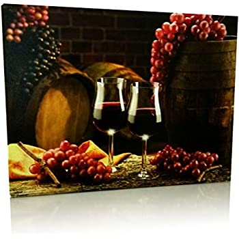 Grape Kitchen Decor Wall Art With Led Lights Canvas Print 2 Wine Glasses With Grapes And Barrels Picture Wine Barrels