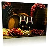 Grape Kitchen Decor Grape Kitchen Decor - Wall Art with LED Lights - Canvas Print - 2 Wine Glasses with Grapes and Barrels Picture - Wine Barrels