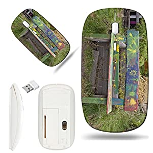 Luxlady Wireless Mouse White Base Travel 2.4G Wireless Mice with USB Receiver, 1000 DPI for notebook, pc, laptop, macdesign IMAGE ID: 23016300 Wooden old bench in public garden with nice kid