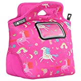 Unicorn Lunch Bag for Girls | with Name Label Pocket | Insulated Neoprene Tote | Cute Pink Rainbow Unicorns | by GOPRENE