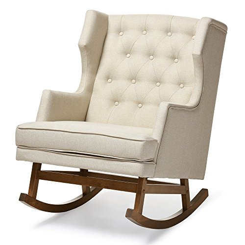 Baxton Studio Iona Mid-Century Retro Modern Light Beige Fabric Upholstered Button-Tufted Wingback Rocking Chair