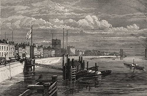 Amazon Com The New Chelsea Embankment From Battersea Bridge London 1874 Old Print Antique Print Vintage Print Printed Prints Of London Posters Prints
