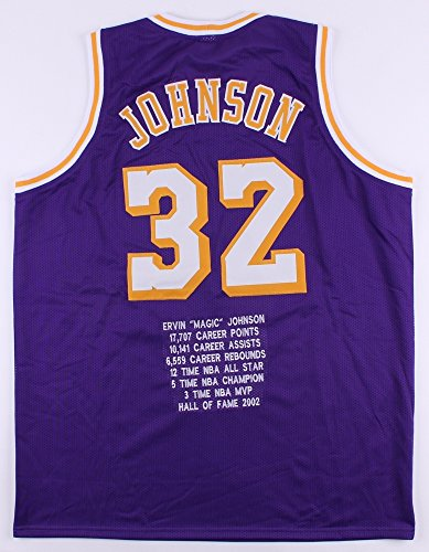 Magic Johnson Lakers On-Court Style Custom Stitched Career Highlight Stat Jersey (Size - Careers Style