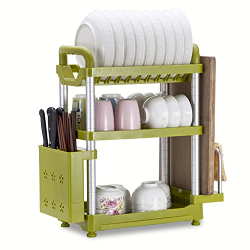 (Storage Organiser Bowl Shelf 3 Layers Kitchen Shelf Landing Multifunction Plate Rack Dish Racks Kitchen Supplies 49.722.253.5CM Kitchen Bathroom Shelf (Color : Green, Size : 49.722.253.5CM))