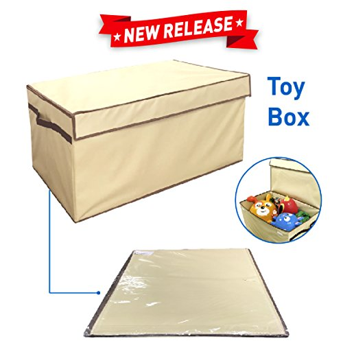 Large Toy Box Folding Toy Trunk Organizer, Toy Chest Collapsible Storage Bin, Great for Nursery or any Room with Toy Box Lid and Side Handles