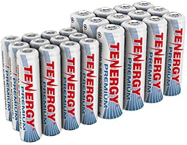 Tenergy Premium High Capacity NiMH Rechargeable Battery Combo, 12xAA and 12xAAA Rechargeable Batteries, 24 Pack