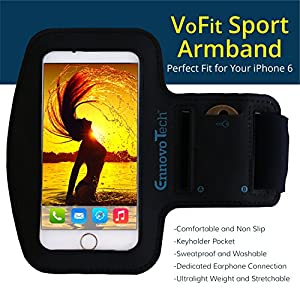 "[TOP RATED] iPhone 6, 6s 4.7 Armband - VoFit By EnnoVoTech- Sport Armband Case for iPhone(6 & 6s 4.7"" , 5 and 5s) And iPod with Key Holder Pocket, Fully Adjustable, Easy Earphone Connection, best for Gym, Sports Fitness, Running, All Kinds of Workouts - f"