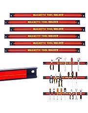 COSTWAY Magnetische gereedschapshouder 6 stuks, magneetstrip voor garage/werkplaatsen, magneetrail, met bevestigingsmateriaal (6 x 46 cm)