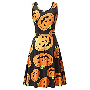 HUHOT Womens Halloween Dresses Casual A-line Flared Party Costume Midi Dress