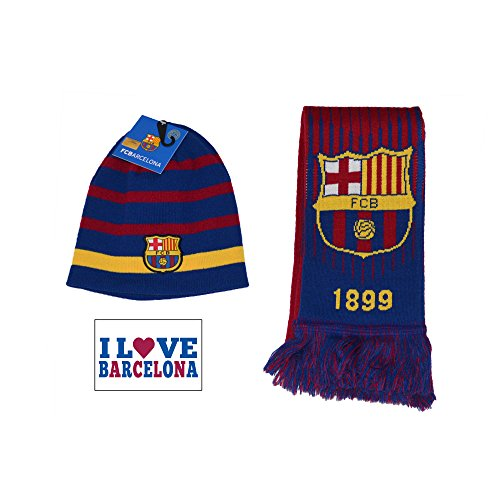 (Fc Barcelona Scarf Reversible and Beanie Pom Skull Cap Hat and (Navy))