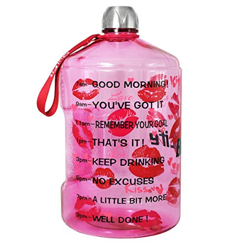 BuildLife 1 Gallon Water Bottle Motivational Fitness Workout with Time Marker/Drink More Daily/Clear BPA Free/Large 128OZ Capacity Throughout The Day(Lips, 1 Gallon)