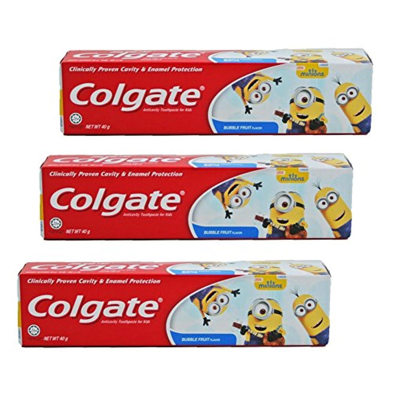 委任検出器湿原コルゲート Colgate 子供用 Kids-BUBBLE FRUIT FLAVOR (ミニオン, 40g) 3個セット [並行輸入品]