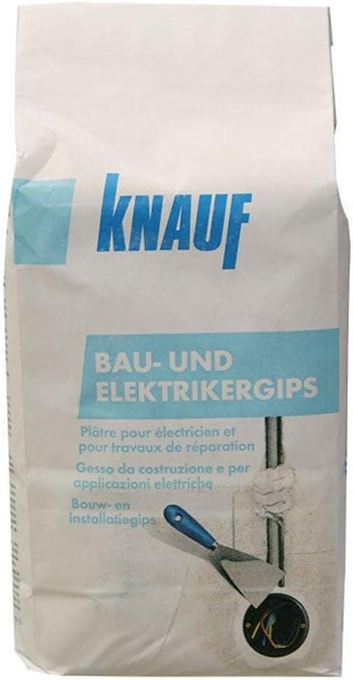 Knauf Bau-Gips / Elektriker-Gips, 10-kg – schnellhärtender, hochfester Montage-Gips zum Setzen und Fixieren von Elektro-Installationen, stoß- und…