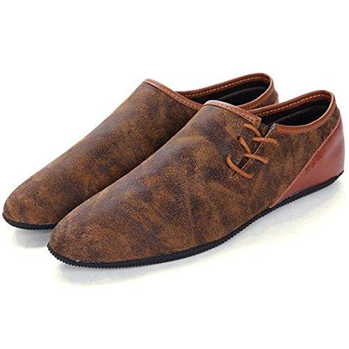 Casuales tacón de Zapatos de los de Plano Hombres Dark Brown Cuero de Zapatos Verano Zapatos gnPAn