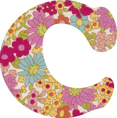 花柄 生地 ピンク アルファベット C アップリケ アイロン接着可能 大文字 coop