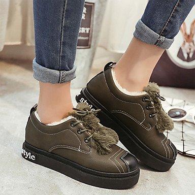 RTRY Zapatos De Mujer Otoño Pu Confort Botas Botas De Combate Talón Plano Ronda Toe Para Sonrojarse Casual Ejército Rosa Verde Gris Negro US6.5-7 / EU37 / UK4.5-5 / CN37