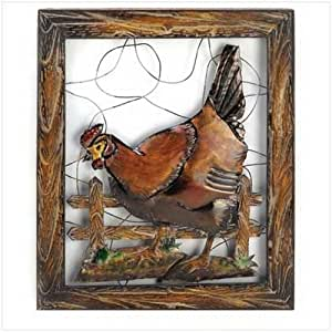 gifts decor country rural rustic rooster metal wall decor plaque home kitchen. Black Bedroom Furniture Sets. Home Design Ideas