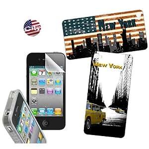 Omenex Cover Case - Funda para móvil Apple iPhone 4/4S, negro y blanco