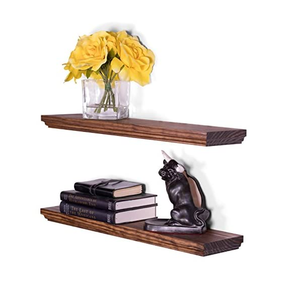 """DAKODA LOVE 5.25"""" Deep Routed Edge Floating Shelves, USA Handmade, Clear Coat Finish, 100% Countersunk Hidden Floating Shelf Brackets, Beautiful Grain Pine Wood Wall Decor (Set of 2) (24"""", Bourbon) - True floating shelves with routed edges. Sits flush against wall with 100% countersunk hidden brackets (includes all mounting hardware) Handcrafted with furniture grade dry kilned pine wood Hand wiped stain and clear coat finish - wall-shelves, living-room-furniture, living-room - 51XeZ2IIfoL. SS570  -"""