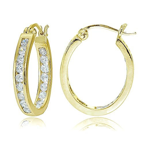 (Gold Flash Sterling Silver Cubic Zirconia Channel-Set Inside-Out Oval Hoop Earrings)