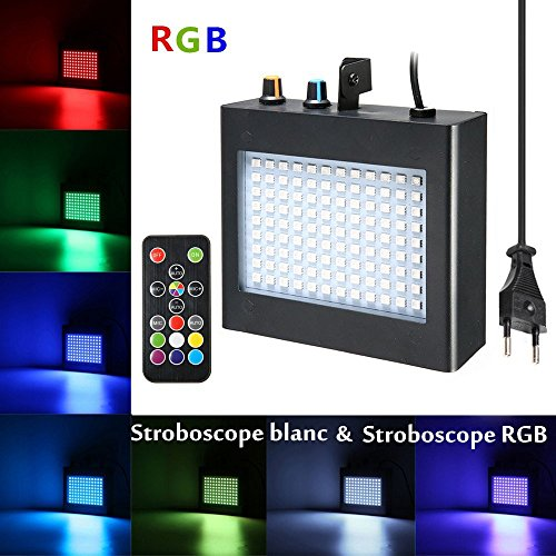 SOLMORE 25W Stroboscope LED avec Télécommande Lampe de Scène 108 RGB Strobe LED Auto/Sound Jeux de Lumière Disco Spot Projecteur Effet DJ Éclairage Déco Atmosphère Soirée Fête Anniversaire Bar 220V