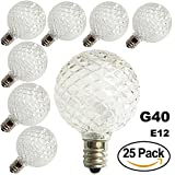 25 c7 bulbs - Pack of 25 G40 Globe LED Replacement Bulbs For Patio Outdoor String Lights, C7/E12 Candelabra Base Sockets, 0.5 Watt Warm White G40 Replacement Plastic Bulbs, Full waterproof & Break Resistant