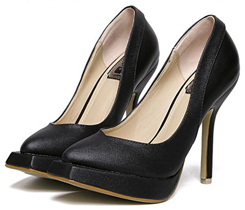 Idifu Womens Dressy Vierkante Neus Slip Op Pumps Hoge Naaldhakken Zwart 2
