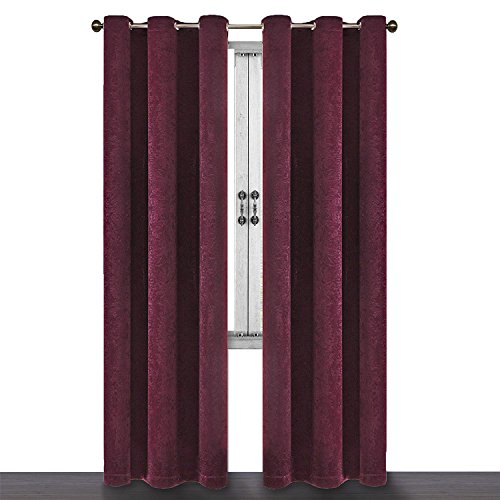 SUO AI TEXTILE Suede Like Treatment Reduce Light Thermal Grommet Ring Window Curtains 2 Panels (37x84,BURGUNDY) ()