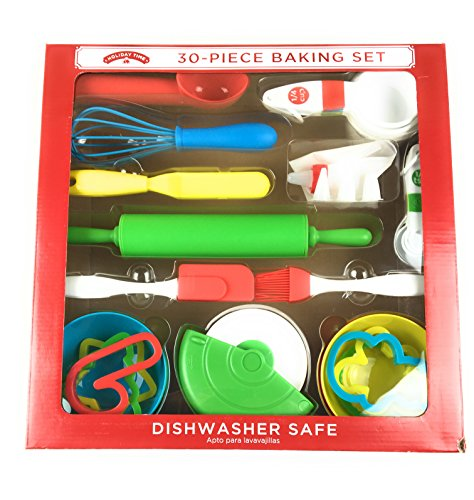 (Holiday Time 30- Piece Baking Set..Includes Rolling Pin, Cookie Scoop, pastry Brush, cutter, Bag and Reusable Tips,)