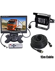 "7"" Car LCD Monitor Caravan Rear View Kit + 4Pin Waterproof CCD Vehicle Reversing Backup Camera for Bus/Trailer/Truck with 15M Video Cable 12V-24V"
