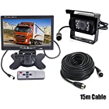 7 Car LCD Monitor Caravan Rear View Kit + 4Pin Waterproof CCD Vehicle Reversing Backup Camera For Bus/Trailer / Truck with 15M Video Cable 12V-24V