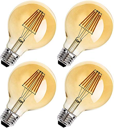 4-Pack Vintage LED Edison Light Bulbs - E26 Base Dimmable 6W G25 LED Replacement Bulbs 100W equivalent, 2700K Antique Filament Bulbs for Cage Pendant Sconces Ceiling Chandelier Light Lamps, Amber Warm
