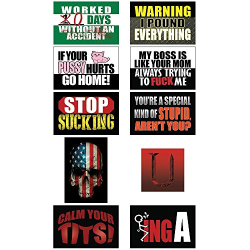 Funny Hard Hat & Helmet Stickers: 10 Decal Value Pack, Extreme Edition. Great for Construction Toolbox, Motorcycle, Mechanics Chest & More. Hilarious Gift for Pro Union Working Men & Women. USA Made - Drill Press Dolly
