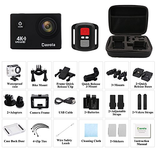 Action Camera Waterproof 4K Underwater Camera Video Sport Camera WiFi Davola 16MP Ultra HD with Remote Control 170° Wide Angle Lens 2 Rechargeable Batteries and Mounting Accessories Kit by Davola (Image #6)
