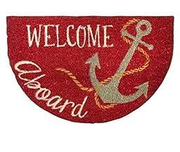"""Red """"Welcome Aboard"""" Coir Slice Door Mat"""