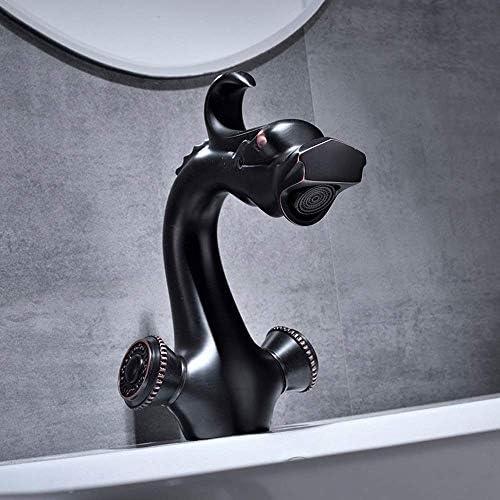 WXQ-XQ ヨーロッパのブラックアンティーク浴室の蛇口蛇口美しく実用的な銅レトロラベンダーホット&コールド単穴の上カウンター盆地の下でカウンター盆地ダブル蛇口セット (Size : Click to select Short)
