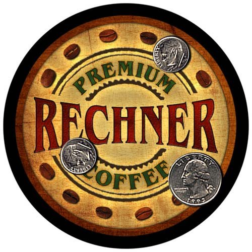 Rechner Family Name Coffee Rubber Drink Coasters - 4 pcs