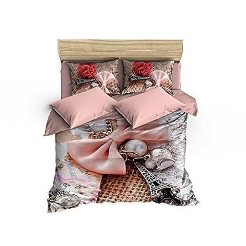 6 Pieces Queen Size Cotton Bedding Set Eiffel Tower 640 Thread Count Duvet Cover Set - Love at Paris Themed Elegant Design, Pink White Tan