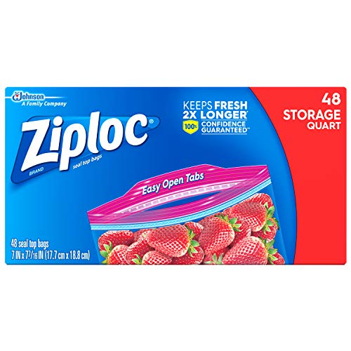 Ziploc Storage Bags, Quart, 48 ct