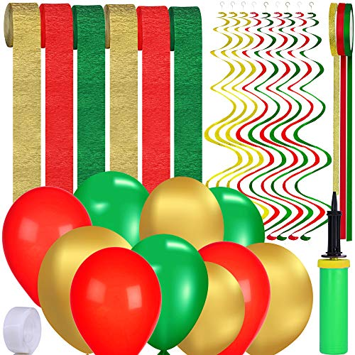 Supla 70 Pcs Christmas Party Decoration Supplies Paper Streamers Backdrop Latex & Foil Balloons Hanging Swirl Streamers Satin & Metallic Glitter Fabric Ribbons Trim in Red Green Gold with Hand Inflator Pump Double-Sided Glue Dots for Holiday Season