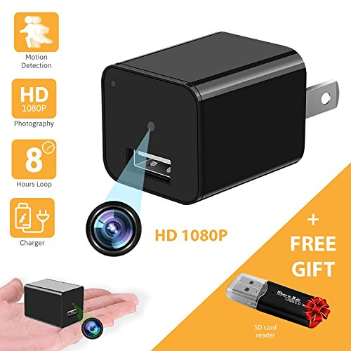- HD 1080P Motion Detection USB Wall Charger Camera Plug Adapter Camera Loop Recording Nanny Cam Support to 32GB Storage