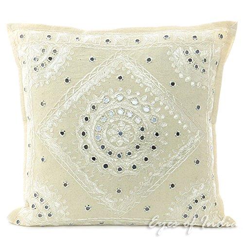 40.6cm ALGODÓN Blanco Funda Manta COJÍN étnico Vintage Decorativo Indio