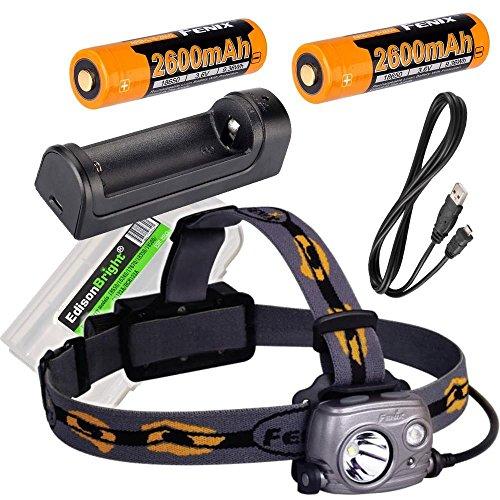 (Fenix HP25R 1000 Lumen USB rechargeable CREE LED Headlamp, 2 X Fenix 18650 rechargeable Li-ion batteries,ARE-X1 charger with EdisonBright BBX3 battery carry case bundle)