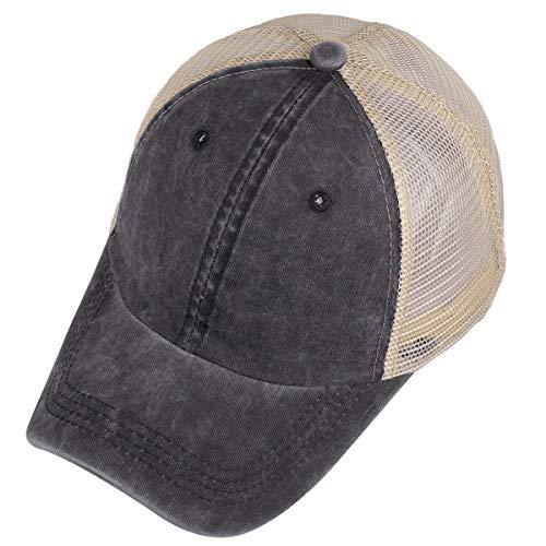 (moonsix Mesh Baseball Cap, Unisex Plain Washed Cotton Twill Vintage Adjustable Summer Trucker Hat,Black)
