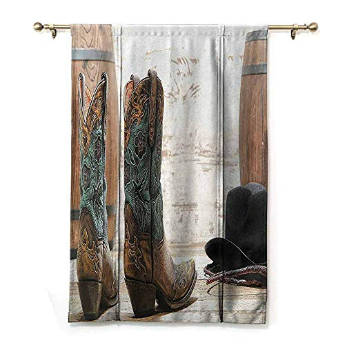 DONEECKL Roman Curtain Western Decor Collection American Rodeo Cowgirl Design Leather Boots with Fancy and Rustic Picture Bedroom Balcony Living Room W35 xL64 Brown Teal