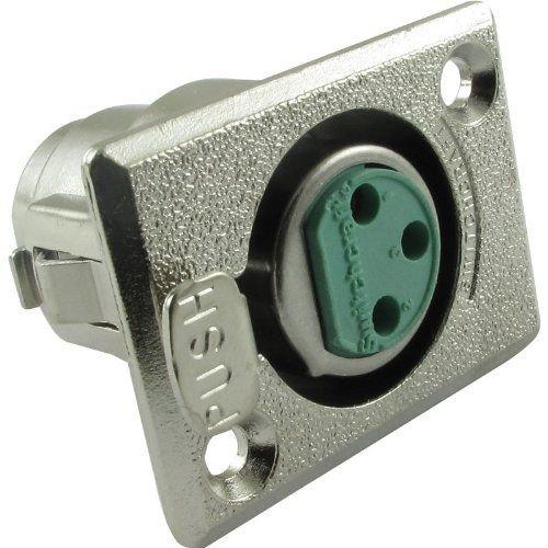Switchcraft XLR 3-Pin Female Rectangular Panel Mount Receptacle (Type D3F) 3 Pin Xlr Female Receptacle
