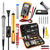 Soldering Iron Kit Electronics, Rarlight 60W Adjustable Temperature Welding Tool, Digital Multimeter, Desoldering Pump, Soldering Iron Stand, Wire Stripper Cutter, Tweezers, 2pcs Electronic Wire, Screwdrivers ET002, Solder Wick, Carry Bag